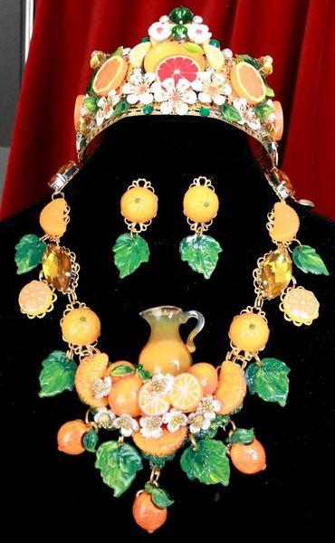 SOLD! 7748 Set Of Sicilian Orange Fruit Pod Necklace+ Earrings