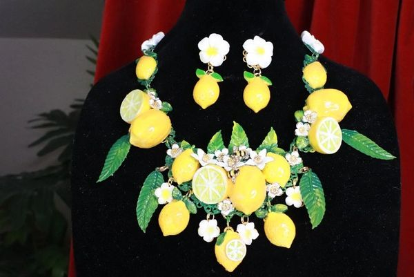 SOLD! 7751 Set Of Baroque 3D Effect Lemon Fruit Bee Statement Necklace+ Earrings