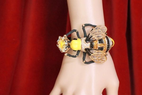 SOLD! 7752 Baroque Bumble Bee Enamel Cuff Bangle