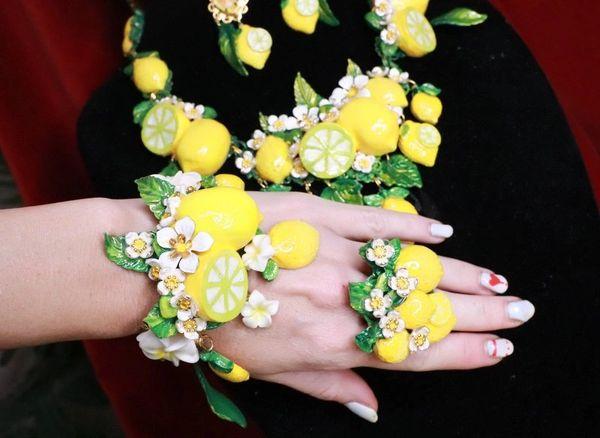 7757 Baroque Vivid Lemon Fruit Flower Blossom Ladybug Massive Bracelet