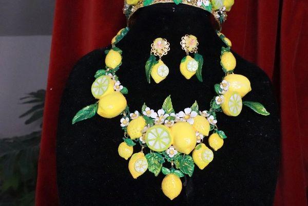 7758 Set Of Baroque 3D Effect Lemon Fruit Bee Statement Necklace+ Earrings