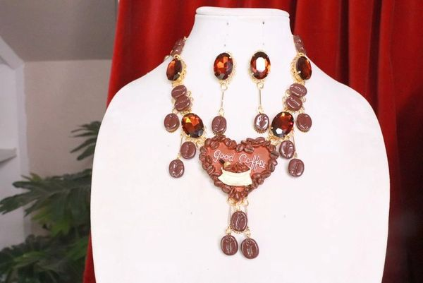 7759 Set Of Baroque 3D Effect Good Coffee Bean Statement Necklace+ Earrings