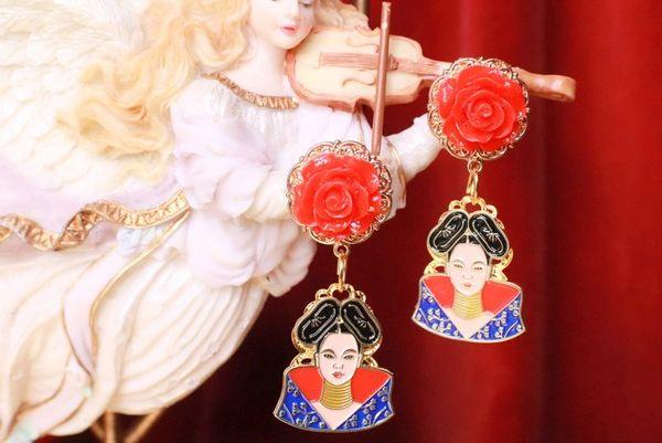 7761 Enamel Bjork Singer Rose Earrings Studs