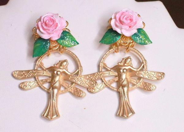 7763 Enamel Victorian Gold Tone Fairy Rose Earrings Studs