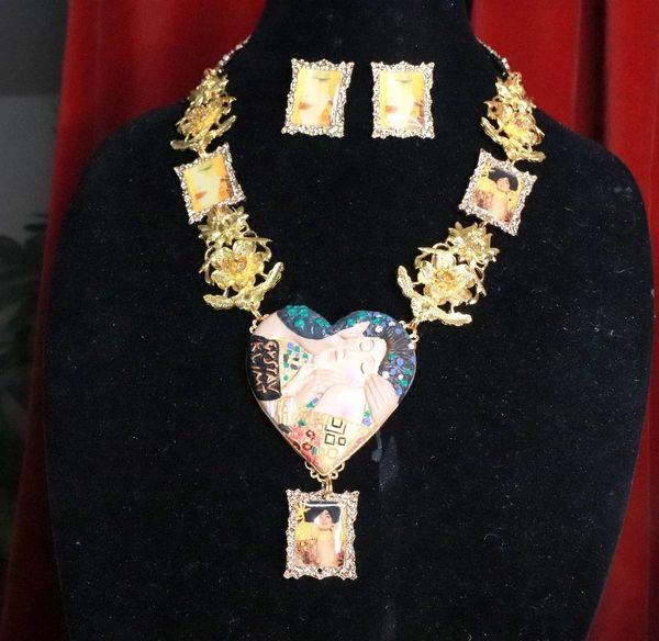 7766 Set Of Gustav Klimt Carved Heart Frames Necklace+ Earrings