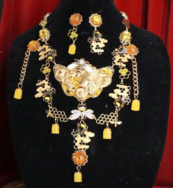 7767Set Of Art Deco Honey Queen Bee Baroque Necklace+ Earrings