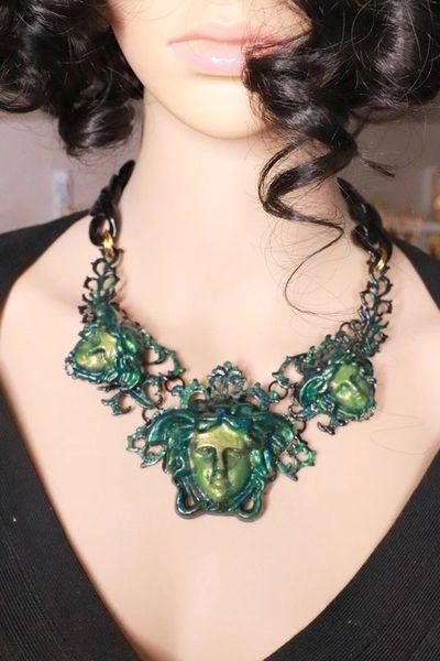 7782 Baroque Mythological Green Malachite 3 Heads Hand Painted Necklace