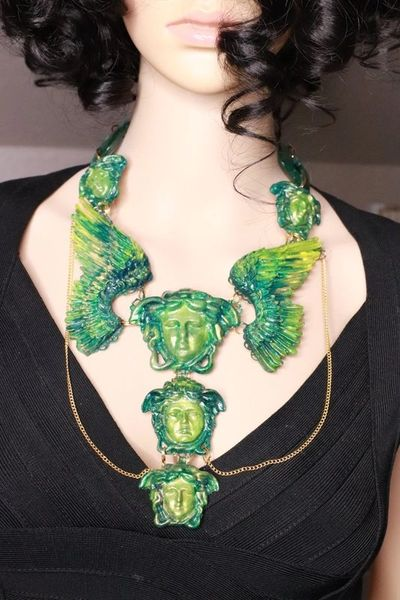 7783 Baroque Mythological Green Malachite Heads Winged Hand Painted Necklace