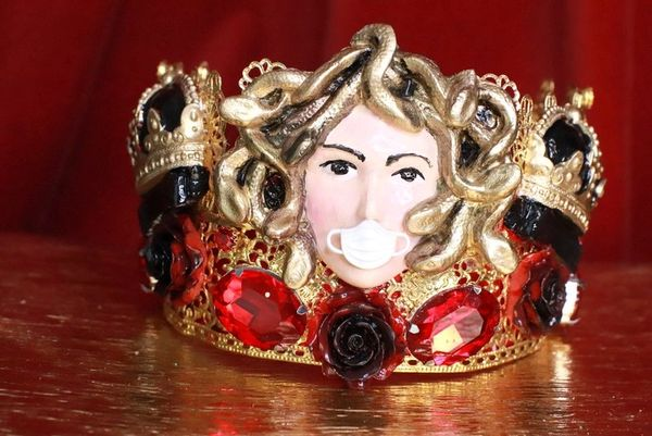7784 Baroque Runway Medusa Gorgon Mask Unusual Hand Painted Crown