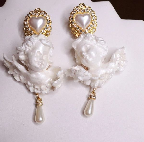 7788 Large Baroque Pearlish Bridal Pearl Heart Chubby Cherubs Angels Earrings