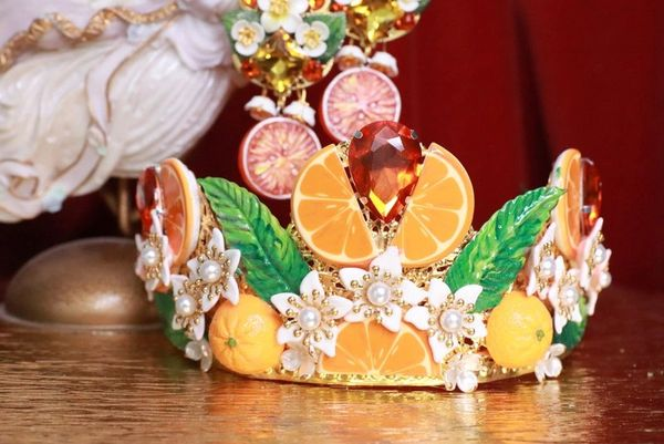 7789 Baroque Sicilian Orange Fruit Hand Painted Crown Headband
