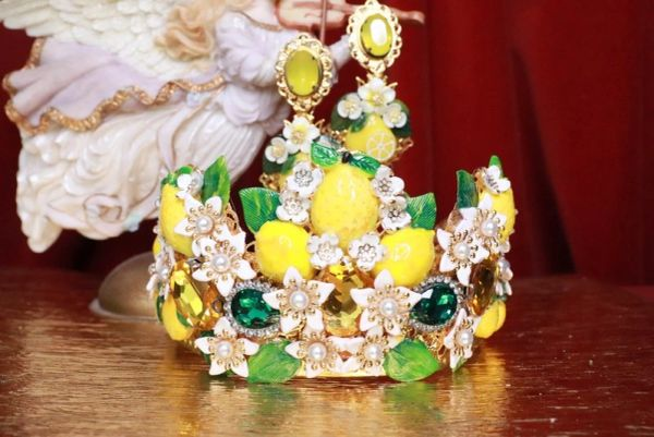 SOLD! 7790 Baroque Sicilian Lemon Fruit Flower Blossom Hand Painted Crown Headband