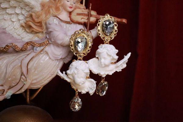 7791 Small Baroque White Bridal Chubby Cherubs Angels Clear Rhinestones Earrings