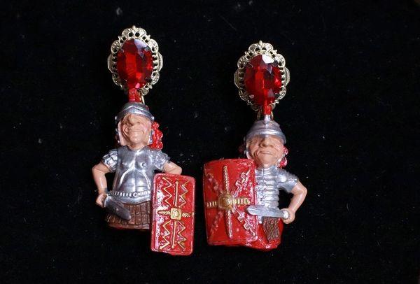 7792 Baroque Roman Warriors 3D Effect Unusual Earrings