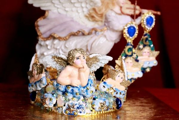 SOLD! 7798 Baroque Hand Painted Raphael Cherub Clouds Stunning Crown