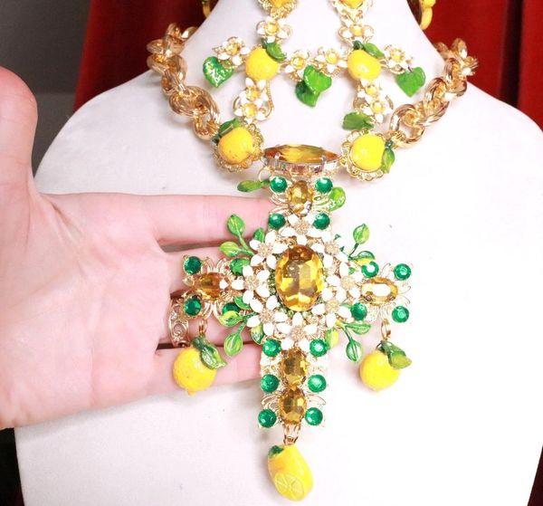 7801 Baroque Lemon Fruit Rhinestone Massive Cross Necklace