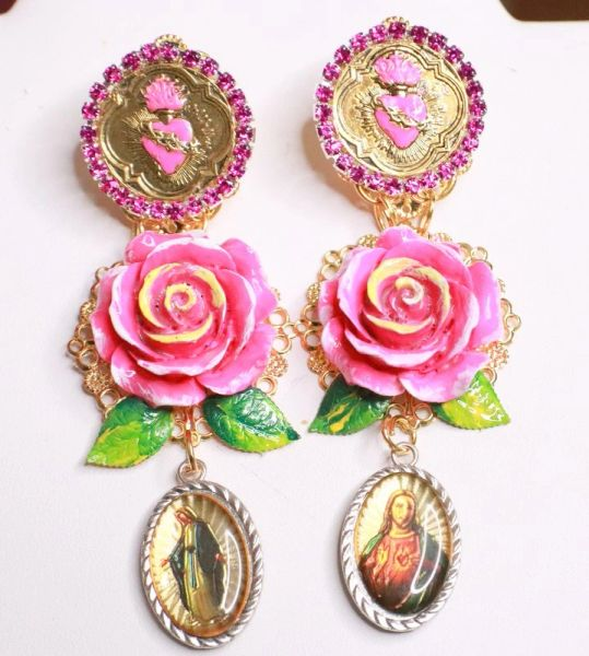 SOLD! 7814 Religious Roses Jesus Mary Cameos Sacred Heart Rose Earrings