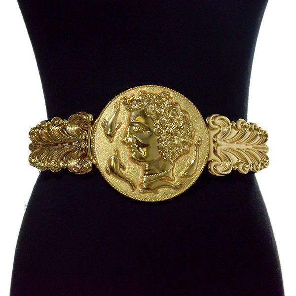 7808 Baroque Large Roman Head Embellished Waist Gold Belt Size S, L, M