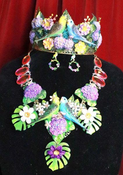 7823 Set Of Lilac Vivid Love Birds Parrots Genuine Tourmaline Hydrangea Necklace + Earrings