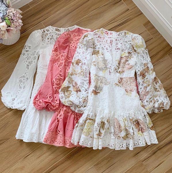 7837 2 Colors High-End Runway 2020 Delicate Lacy Cotton Mini Dress