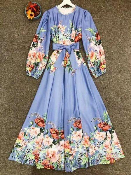 7838 High-End Runway 2020 Cotton Folk Floral Boho Maxi Dress