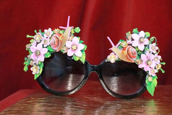7842 Baroque Hand Painted Adorable 3D Effect Snails Flowers Embellished Sunglasses