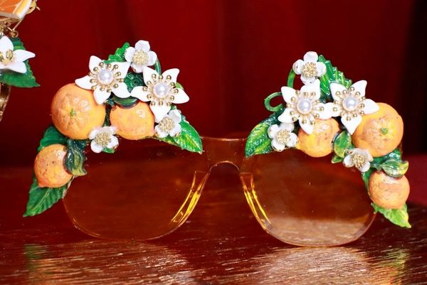 7847 Baroque Hand Painted Sicilian Orange Fruit Flowers Embellished Sunglasses
