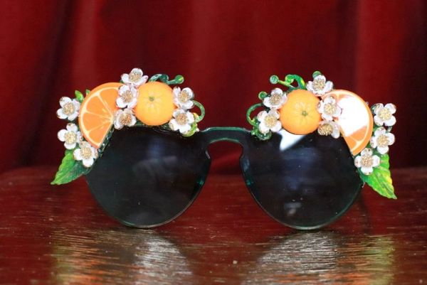 7848 Baroque Green Hand Painted Sicilian Orange Fruit Flowers Embellished Sunglasses