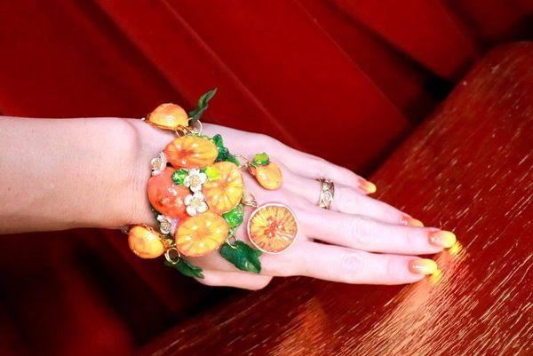 7849 Baroque Italian Sicilian Orange Fruit Adjustable Massive Bracelet
