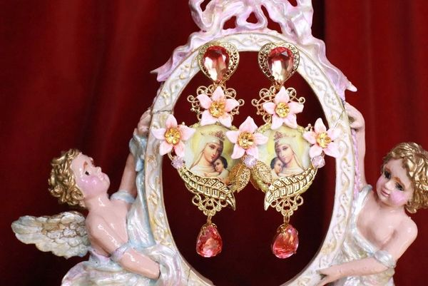 7855 Virgin Mary Massive Peach Light Weight Studs Earrings
