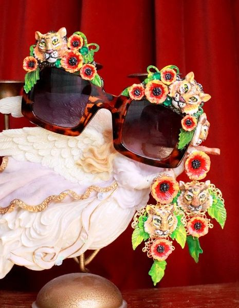 7856 Baroque Leopard Flowers Hand Painted Tigers Embellished Sunglasses