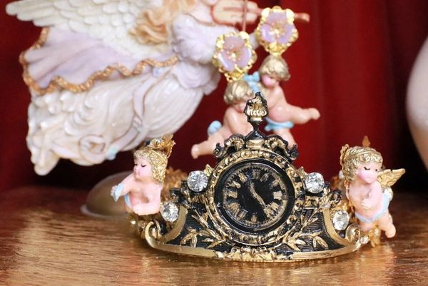 7861 Baroque Vintage Clock Cherubs Flower Stunning Crown Headband