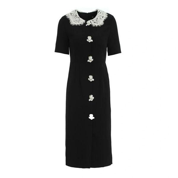 7862 Runway 2020 Baroque Cherub Buttons Lace Collar Black Classy Midi Dress