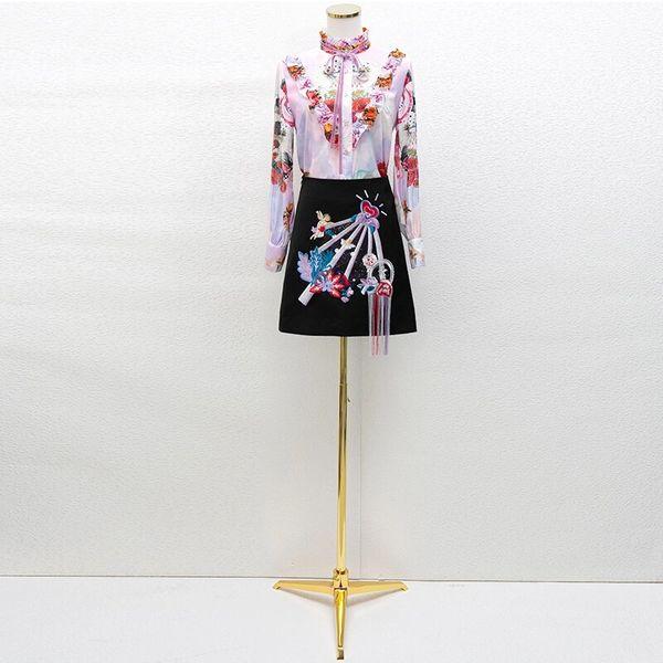 7867 Runway 2020 Floral Angels Print Blouse+ Mini Skirt Twinset