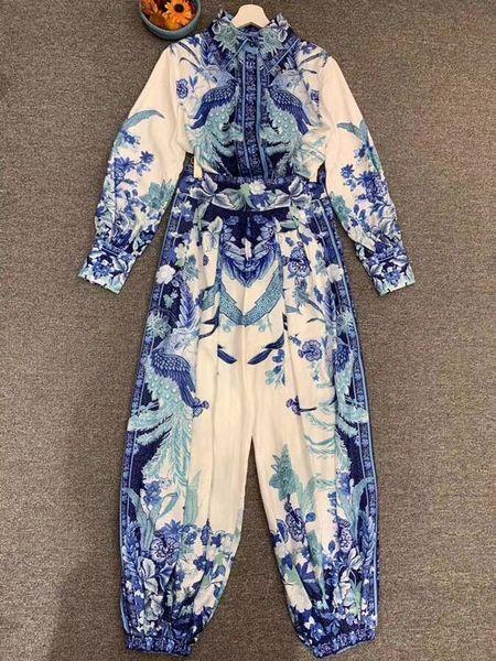 7868 Runway 2020 Boho Floral Print Harem Pants+ Blouse Twinset