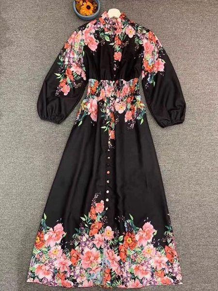 7869 Runway 2020 2 Colors Boho Festive Floral Print Maxi Dress