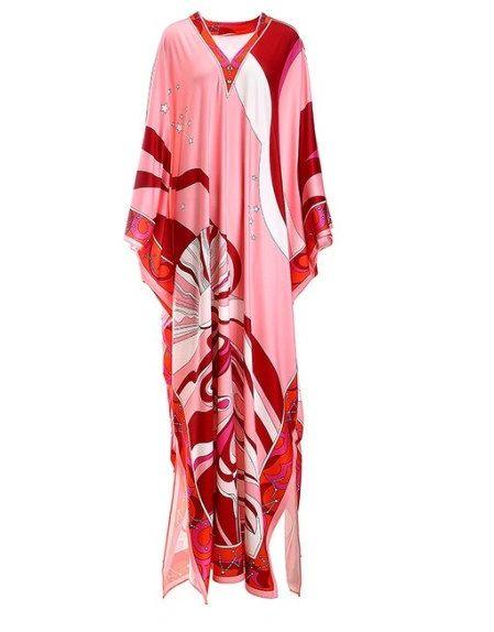 7870 Runway 2020 Geometry Print Abaya Caftan Maxi Dress