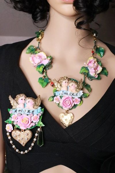 7877 Baroque Amore Cherubs Banner Roses Hand Painted Brooch
