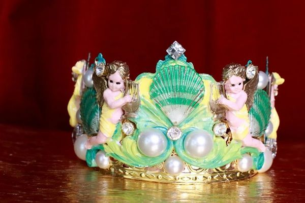 7880 Baroque Nautical Cherubs Sea Shell Hand Painted Crown Headband
