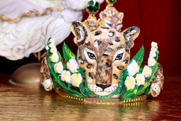 7881 Art Jewelry Vivid Leopard Animal Lily Of The Valley Hand Painted Crown Headband