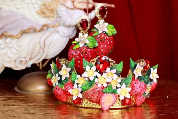 7884 Baroque Vivid Strawberry Hand Painted Crown Headband