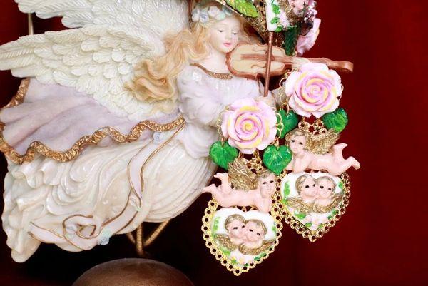 7886 Baroque Chubby Pastel Cherubs Hearts Hand Painted Earrings