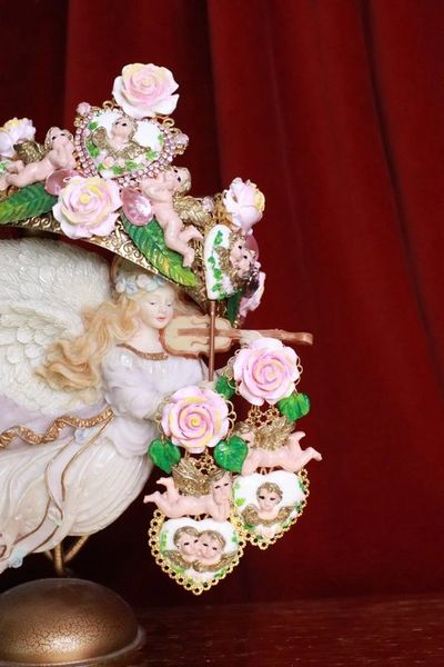 7887 Baroque Chubby Pastel Cherubs Hearts Hand Painted Irregular Earrings