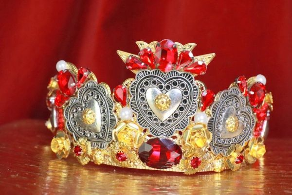 7890 Baroque Silver Sacred Hearts Crown Tall Headband