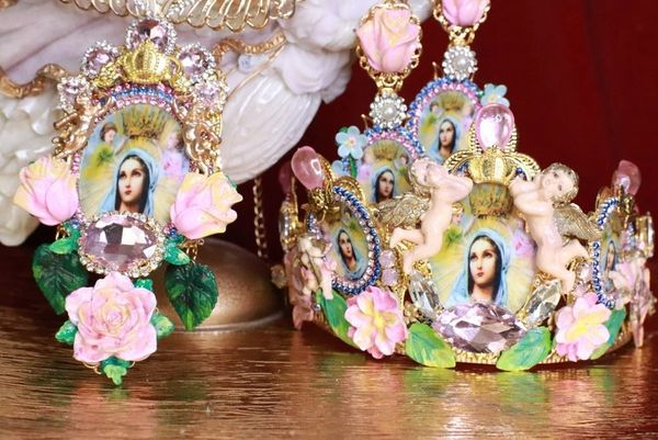 7891 Virgin Mary Cameos Angels Cherubs Crown Tall Headband