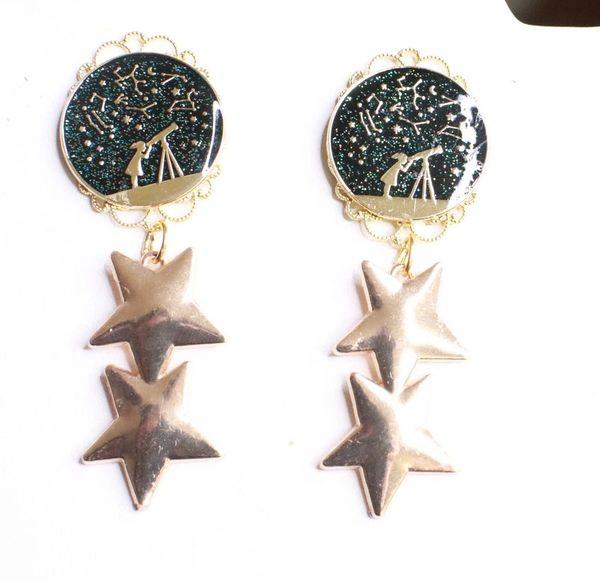 7898 Enamel Stars Celestial Earrings