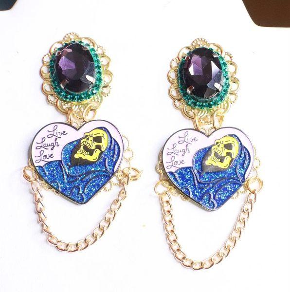 7903 Enamel Purple Scull Live Laugh Love Earrings