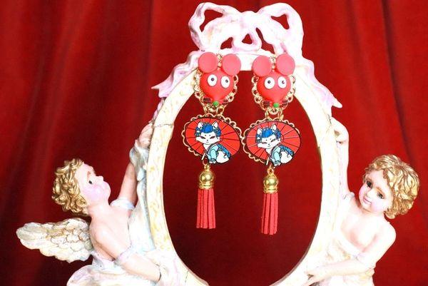 7908 Enamel Japanese Cat Mouse Adorbale Earrings