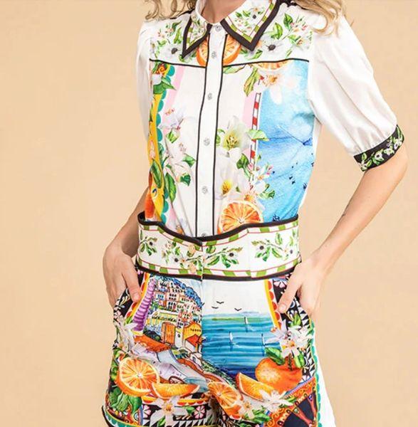 7910 Runway 2020 Orange Fruit Print Sicilian Shorts+ Blouse Twinset
