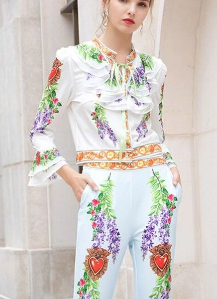 7911 Runway 2020 Floral Sacred Heart Print Pants+ Blouse Twinset